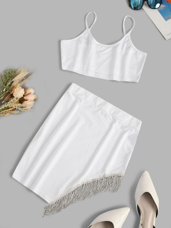 Fringed Rhinestone Cami Two Piece Skirt Set - أبيض S