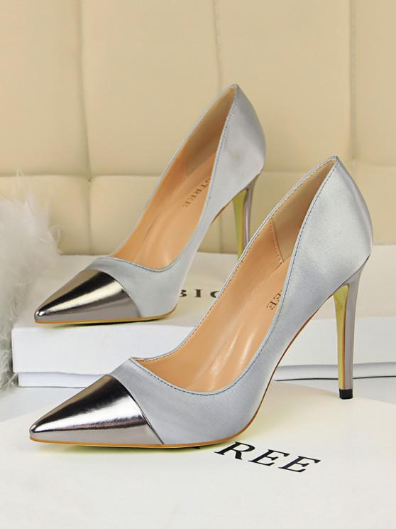 best Satin Panel Pointed Toe High Heel Shoes - GRAY EU 37