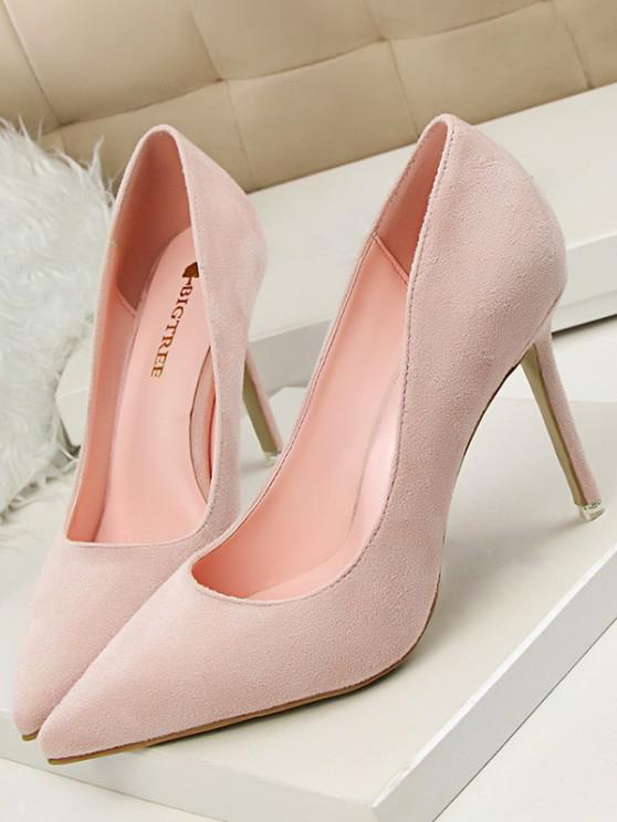 shop Solid Suede Slip On Stiletto Heel Shoes - PINK EU 39