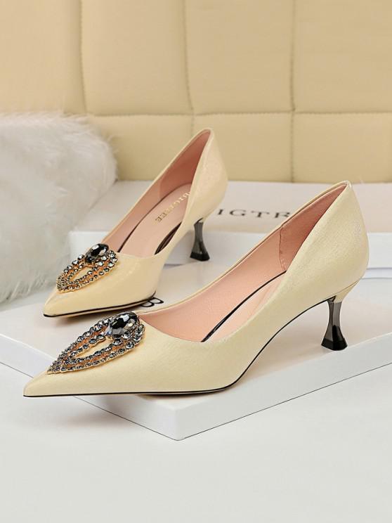 unique Teardrop Rhinestone High Heel Shoes - CHAMPAGNE EU 38