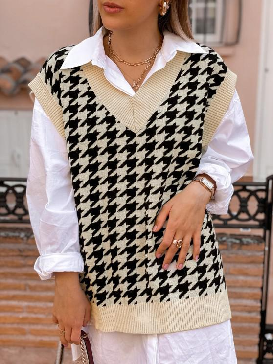 Houndstooth Stepped Hem Sweater Vest - القهوة الخفيفة M