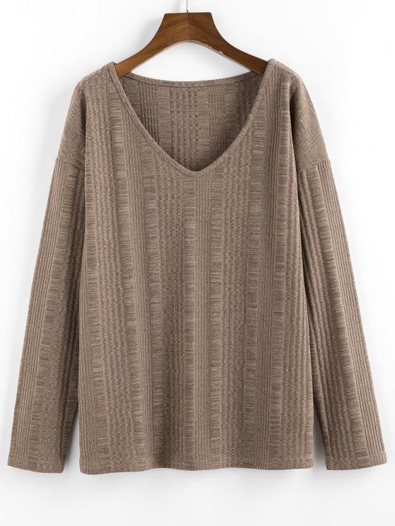 chic ZAFUL Drop Shoulder V Neck Knitted T Shirt - LIGHT BROWN M