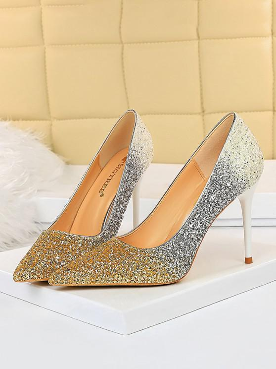 unique Gradient Glitter Stiletto Heel Shoes - GOLDEN EU 40