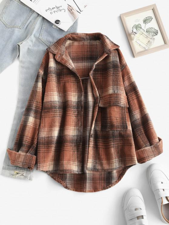 Front Pocket Plaid Houndstooth Flannel Shacket - متعدد S