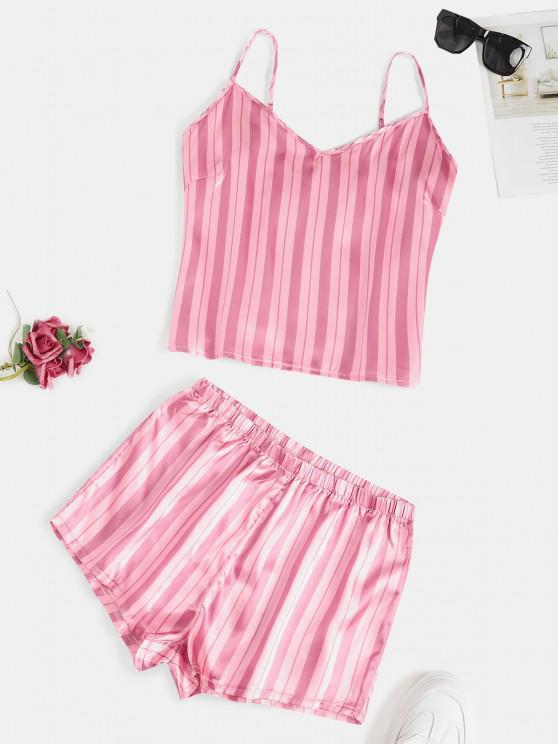 women Sleepwear Stripes Satin Cami Set - LIGHT PINK M