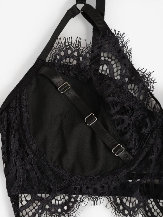 Strappy Underwire Eyelash Lace Panel Lingerie Set - Black L   ZAFUL