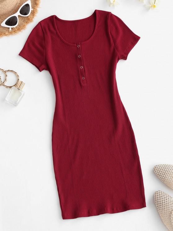 fashion Half Snap Button Rib-knit Slinky Dress - RED S
