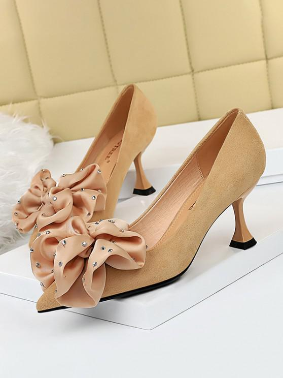 affordable Rhinestone Bowknot High Heel Shoes - APRICOT EU 40