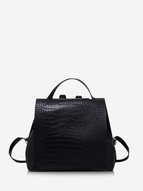 latest Textured Solid Square Cover Backpack - BLACK