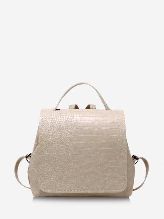 chic Textured Solid Square Cover Backpack - BEIGE