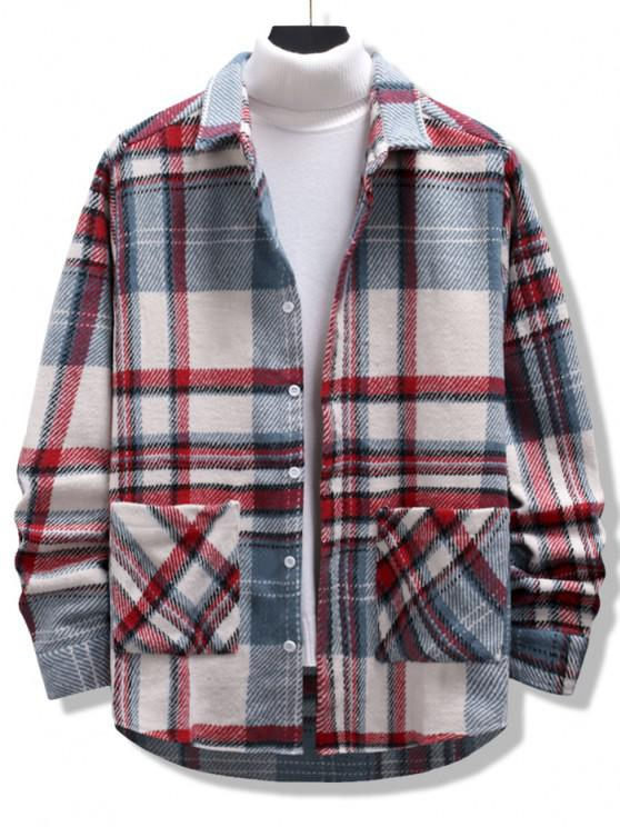 hot Plaid Print Double Pockets High Low Flannel Jacket - MULTI S