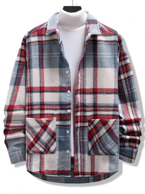 fashion Plaid Print Double Pockets High Low Flannel Jacket - MULTI XL