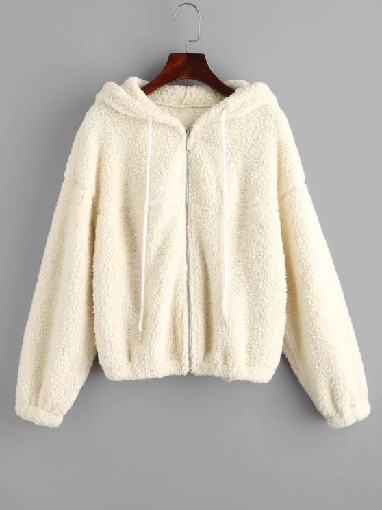women ZAFUL Hooded Zip Up Teddy Jacket - WARM WHITE S