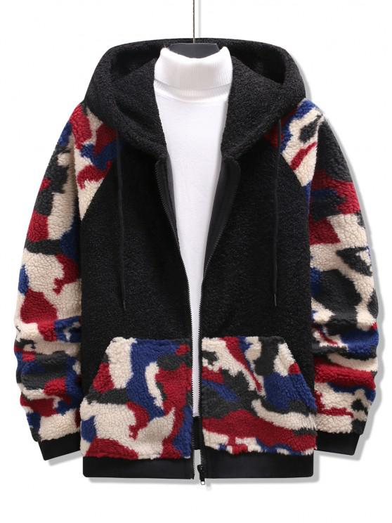 hot Hooded Camouflage Pattern Teddy Jacket - BLACK L