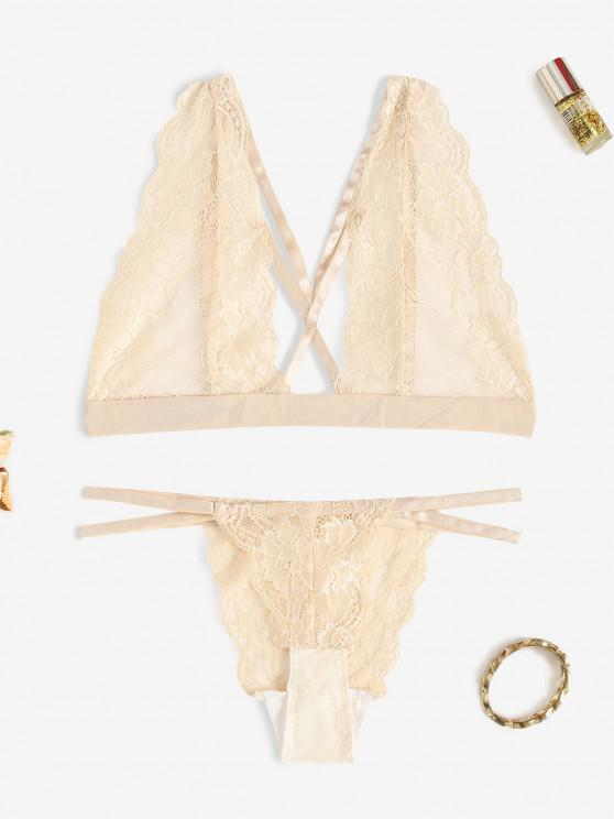 outfits Scalloped Trim Strappy Lace Lingerie Set - LIGHT COFFEE L