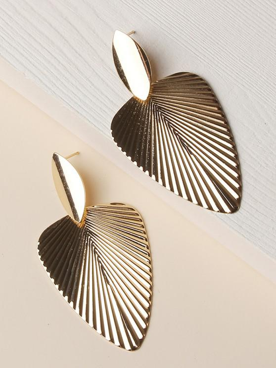 outfits Textured Leaf Shape Alloy Earrings - GOLDEN