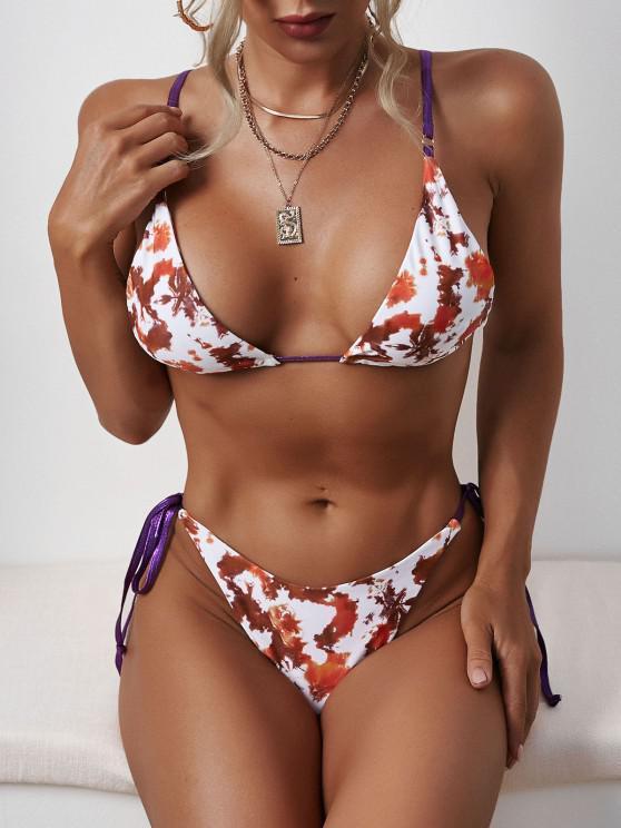 Tie Dye Tied Strap Tanga Bikini Swimwear - قهوة S