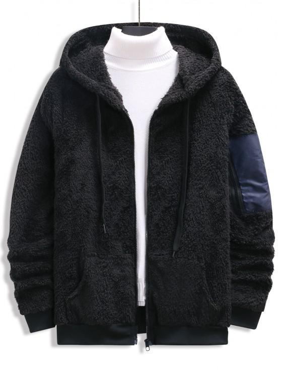 womens Zip Up Drawstring Fluffy Hoodie - BLACK M