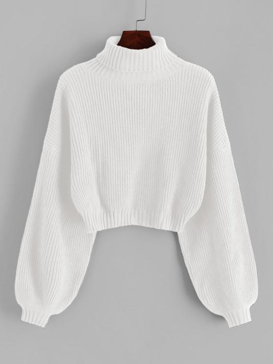 outfit ZAFUL Turtleneck Lantern Sleeve Cropped Sweater - WHITE M