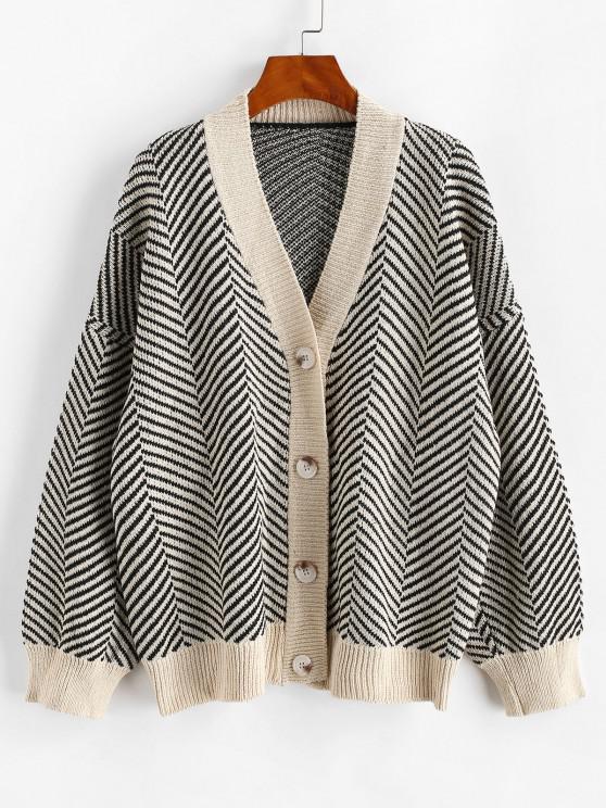 trendy Button Up Stripes Oversized Cardigan - BLACK ONE SIZE