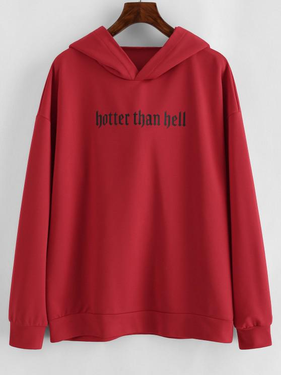 hot Drop Shoulder Graphic Animal Cattle Hoodie - RED M