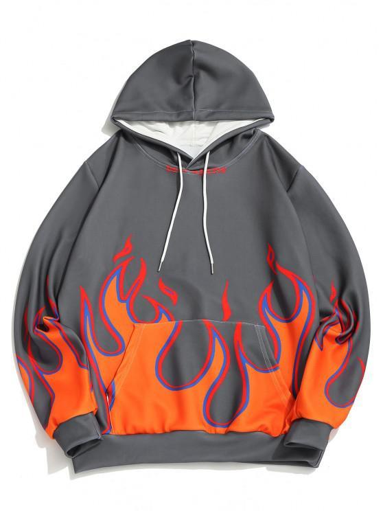 Flame Print Kangaroo Pocket Drawstring Hoodie - الرمادي الداكن 3XL