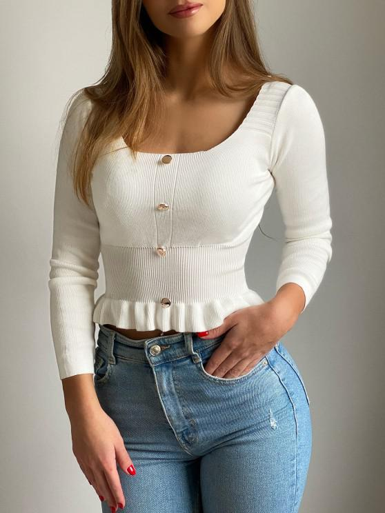 shops Mock Button Peplum Scoop Neck Sweater - WHITE ONE SIZE
