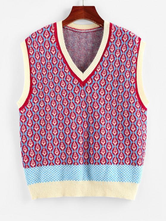 ladies ZAFUL Geo Colorblock V Neck Sweater Vest - MULTI M