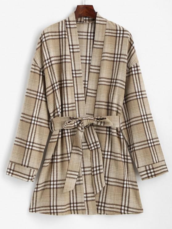 ZAFUL Belted Plaid Longline Robe Coat - قهوة M
