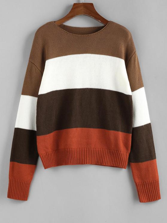 ZAFUL Jersey con Hombro Caído de Bloque de Color - Multicolor S