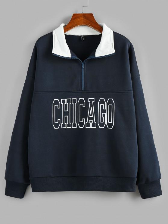 fancy Drop Shoulder Chicago Print Quarter Zip Sweatshirt - DEEP BLUE M