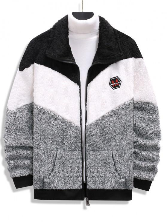latest Zip Up Applique Detail Contrast Fluffy Jacket - BLACK XXL