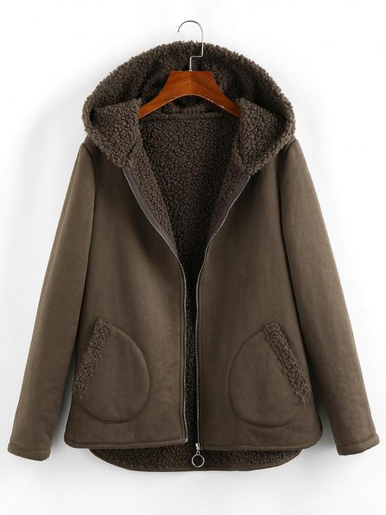 ZAFUL Kapuze Teddy Gefütterte Tasche Reißverschluss Mantel - Taupe XL