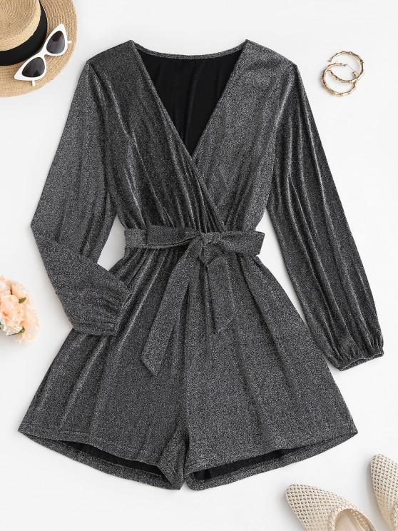 lady Sparkly Metallic Thread Belted Surplice Romper - GRAY S