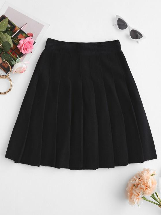 outfit Knit Mini Pleated Skirt - BLACK ONE SIZE