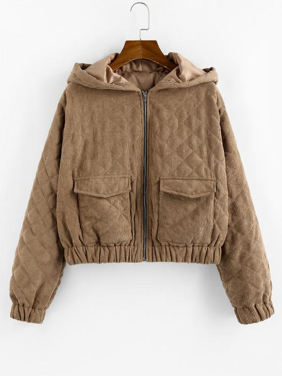 hot ZAFUL Hooded Corduroy Quilted Pocket Zip Coat - BROWN BEAR S