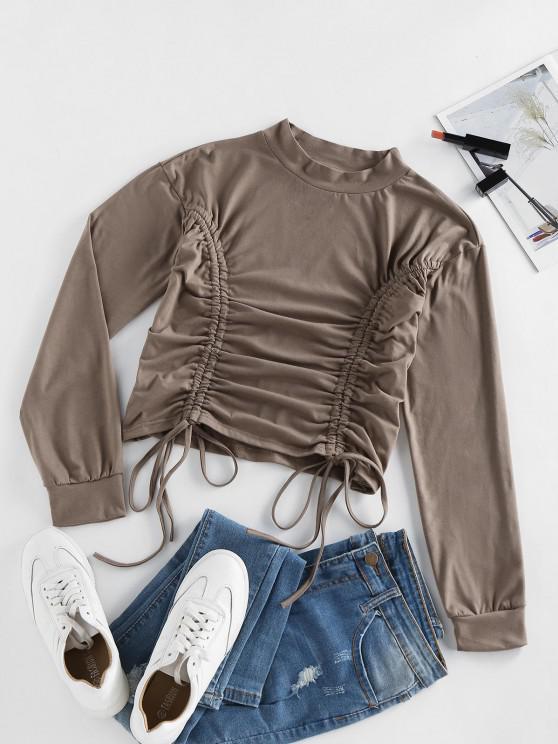 shops ZAFUL Cinched Drop Shoulder Plain T Shirt - DEEP COFFEE L