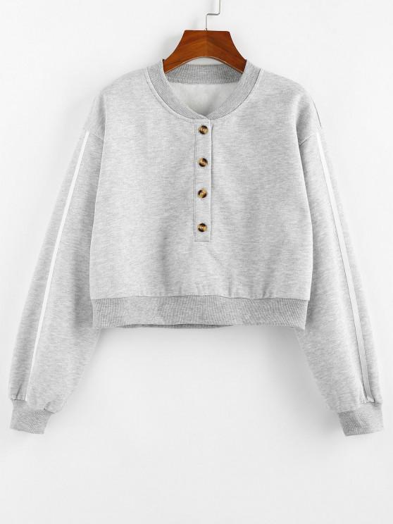 hot ZAFUL Fleece Lined Placket Drop Shoulder Taped Sweatshirt - GRAY M