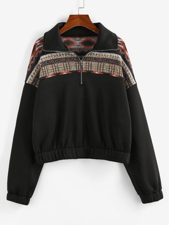 ZAFUL Graphic Knit Fleece Lined Half Zip Sweatshirt - أسود S