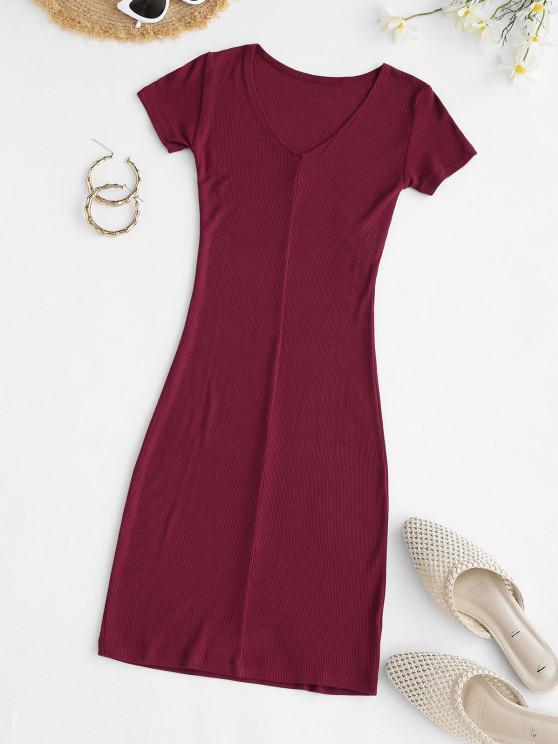 Rib-knit Bodycon Mini Slinky Tee Dress - أحمر حجم واحد