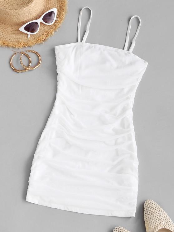 outfit Mesh Overlay Ruched Bodycon Dress - WHITE L
