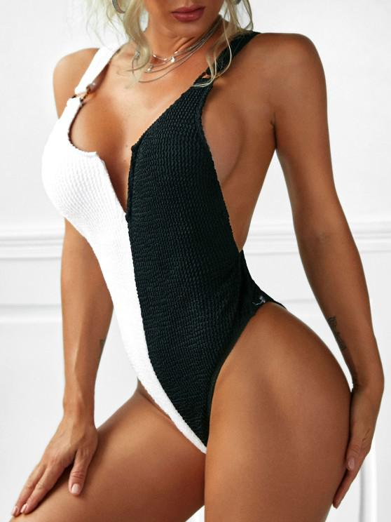 ZAFUL Plunge Two Tone O Ring One-piece Swimsuit - أسود S