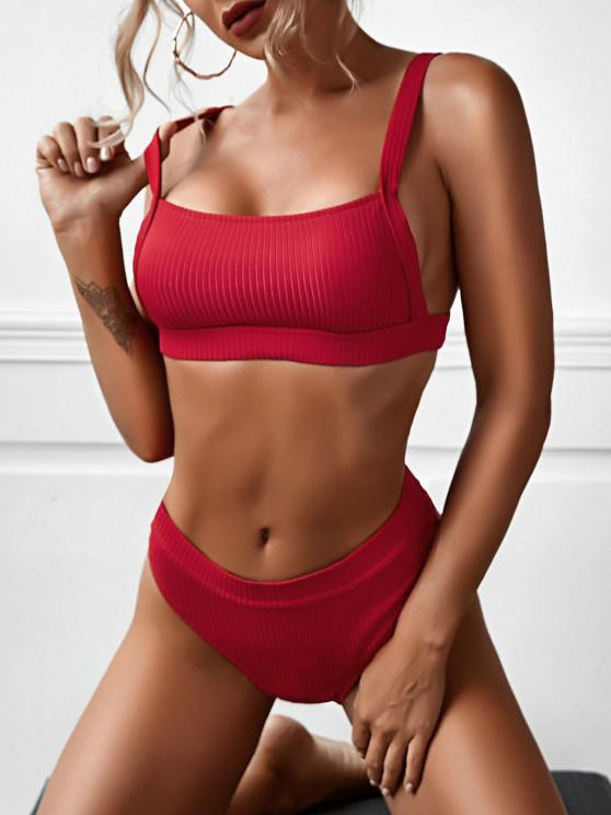outfit ZAFUL Ribbed High Waisted High Leg Bikini Swimwear - RED S