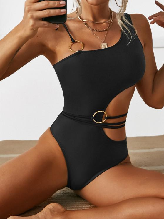 shop ZAFUL Belted Tie Shoulder O-ring One-piece Swimsuit - BLACK S