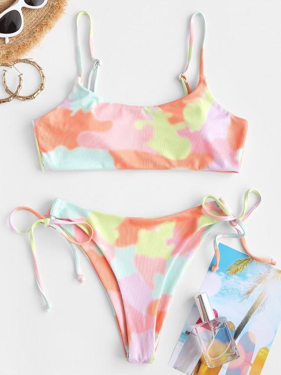 women's ZAFUL Ribbed Tie Dye High Leg Bikini Swimwear - LIGHT PINK L
