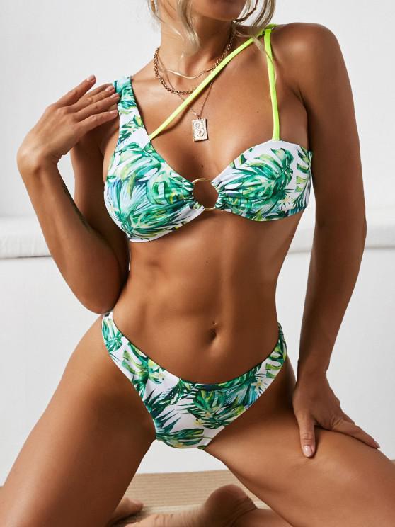 sale ZAFUL Palm Flower O Ring Skew Neck Bikini Swimwear - GREEN S