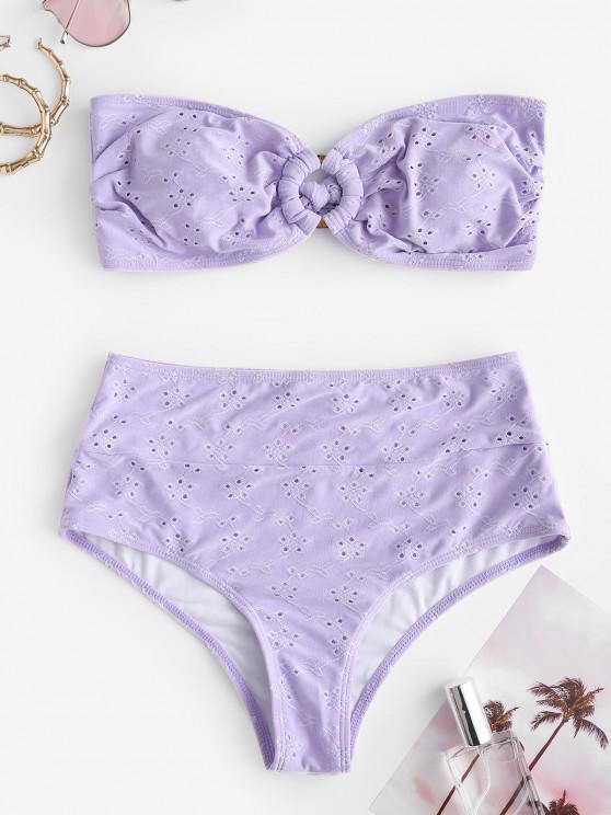 ZAFUL Broderie Anglaise O Ring Bandeau Bikini Swimwear - ضوء ارجواني L