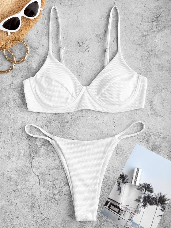 ZAFUL Textured Underwire String Tanga Bikini Swimwear - أبيض M