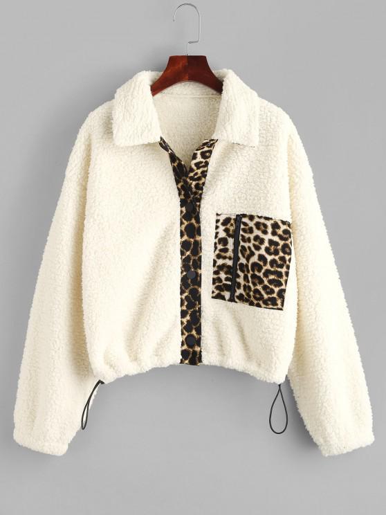 trendy ZAFUL Pocket Leopard Print Teddy Coat - WARM WHITE M