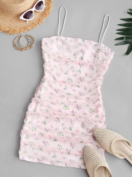 Flower Mesh Insert Ruched Bungee Strap Dress - وردي فاتح L